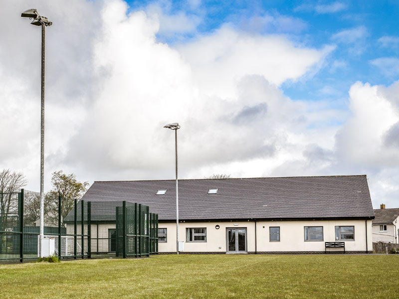 Longhoughton Community and Sports Centre Main Building and Grass Pitch